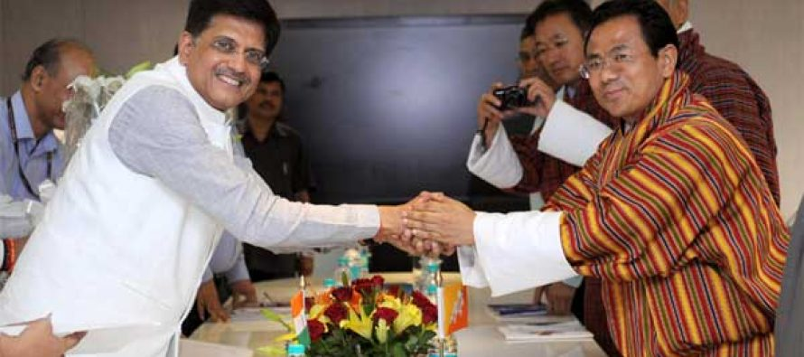 Minister for Economic Affairs of Bhutan, Lyonpo Norbu Wangchuk calls on the MoS (IC) for Power, Coal and New and Renewable Energy, Piyush Goyal,