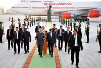The Prime Minister, Narendra Modi being welcomed by the Deputy Prime Minister and Minister of Foreign Affairs of Turkmenistan
