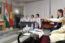 The Prime Minister, Narendra Modi inaugurating the Tele-medicine link between India and Kyrgyzstan at National Centre