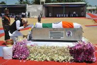 The Prime Minister, Narendra Modi pays homage to the former President of India, Dr. A.P.J. Abdul Kalam, at burial site, Rameswaram,