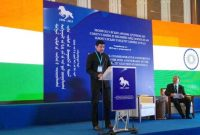 The MoS for I&B, Col. Rajyavardhan Singh Rathore addressing at the International Commemorative Conference