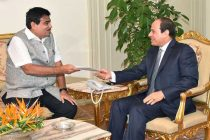 The Minister for Road Transport & Highways and Shipping, Nitin Gadkari meeting the Egyptian President, Abdel Fattah Al-Sisi,