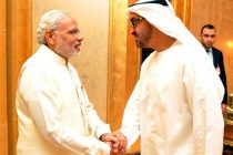 The Prime Minister, Narendra Modi with the Crown Prince of Abu Dhabi, Sheikh Mohammed bin Zayed Al Nahyan