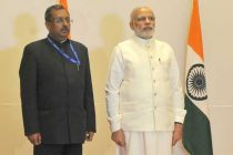 The Prime Minister, Narendra Modi at the reception hosted by the Ambassador of India in United Arab Emirates (UAE), T.P. Seetharam