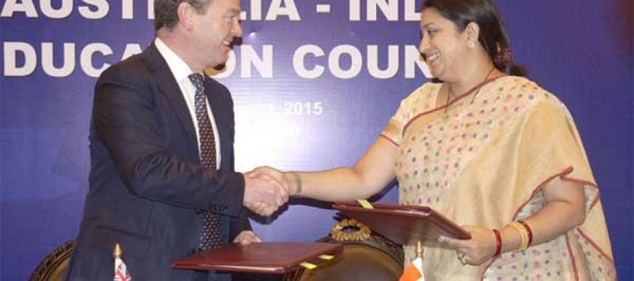 The Minister for Human Resource Development, Smriti Irani and the Minister for Education and Training, Australia, Christopher Pyne MP