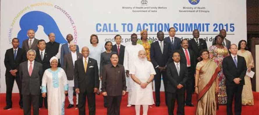 """The Prime Minister, Narendra Modi in a group photograph with the dignitaries at the Global """"Call to Action"""" Summit 2015"""