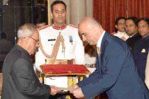 Ambassador-designate of the Republic of Armenia, Armen Martirosyan presenting his credential to the President, Pranab Mukherjee