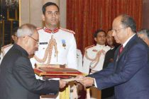 Ambassador-designate of Bolivarian Republic of Venezuela, Augusto presenting his credential to the President, Pranab Mukherjee