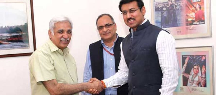 Minister of State for I&B, Col. Rajyavardhan Singh Rathore greets Sunil Arora after takes charge as the Secretary, Ministry of I&B