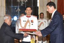Ambassador-designate of the Federal Republic of Germany, Dr. Martin Ney presenting his Credentials to the President, Pranab Mukherjee