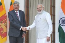 Prime Minister, Narendra Modi meeting the Prime Minister of the Democratic Socialist Republic of Sri Lanka, Ranil Wickremesinghe