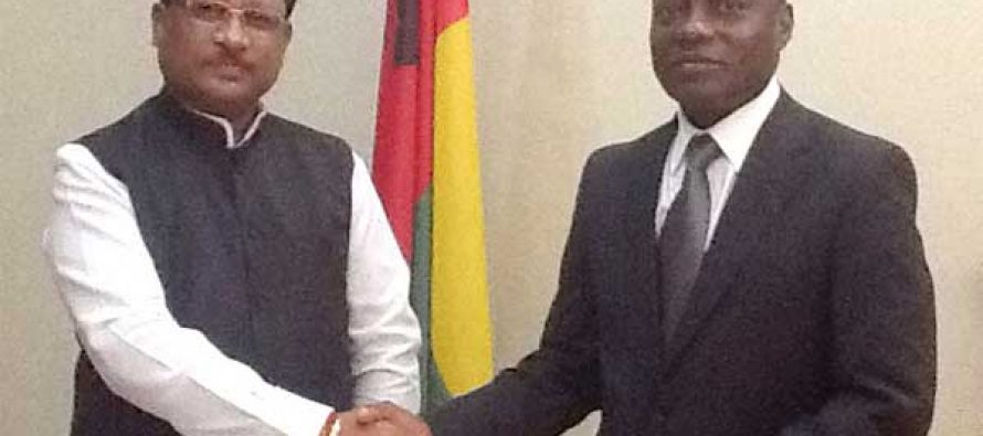 Minister of State for Mines and Steel, Vishnu Deo Sai meeting the President of the Republic of Guinea-Bissau, Jose Mario Vaz