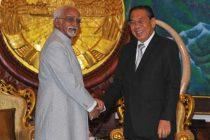 Vice President, Mohd. Hamid Ansari meeting the President of Lao PDR, Choummaly Sayasone, at Presidential Palace