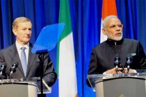 Prime Minister, Narendra Modi delivering his statement to the media with the Prime Minister of Ireland, Enda Kenny