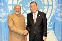 Prime Minister, Narendra Modi with the UN Secretary General, Ban Ki-moon at United Nations General Assembly,