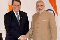 Prime Minister, Narendra Modi with the President of Cyprus, Nicos Anastasiades, in New York City on September 25, 2015.