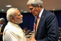Prime Minister, Narendra Modi meeting the United States Secretary of State, John Kerry, in New York on September 28, 2015.