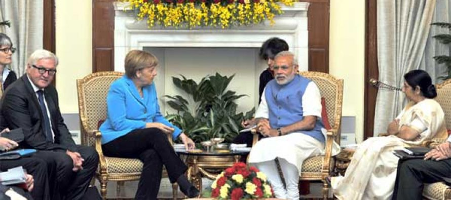 Prime Minister, Narendra Modi in meeting with the German Chancellor, Dr. Angela Merkel, at Hyderabad House