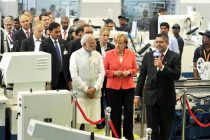 Prime Minister, Narendra Modi and the German Chancellor, Dr. Angela Merkel visiting the Robert Bosch Engineering & Innovation Centre
