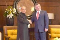 President, Pranab Mukherjee with the HM King Abdullah of Jordan at the restricted meeting, at Al Husseinieh Palace