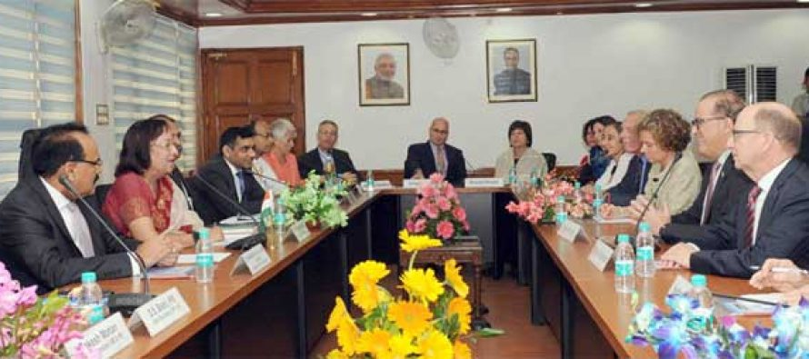 A delegation led by the President, American Jewish Committee, Stanley Bergman calling on the Minister for Minority Affairs