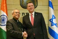 President, Pranab Mukherjee meeting the Speaker of the Knesset (Israeli Parliament), Yuli-Yoel Edelstein, in Jerusalem