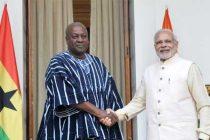 Prime Minister, Narendra Modi meeting the President of the Republic of Ghana, John Dramani Mahama