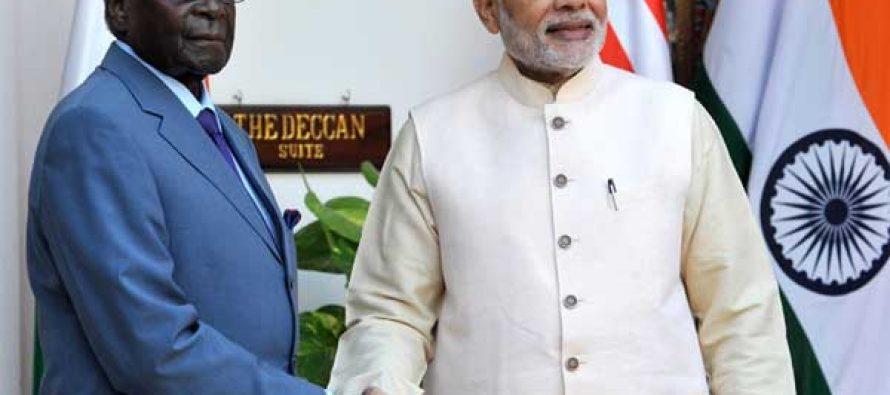 Prime Minister, Narendra Modi meeting the President of the Republic of Zimbabwe, Robert Gabriel Mugabe