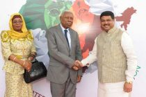 Vice President of Tanzania, Mohamed Gharib Bilal being received by the MoS for Petroleum and Natural Gas (IC), Dharmendra Pradhan
