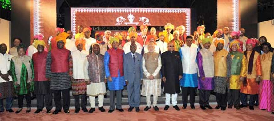 PM, Narendra Modi with the African leaders during the special dinner hosted, on the sidelines of the 3rd India Africa Forum Summit