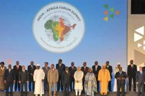 Prime Minister, Narendra Modi and the Leaders of African nations in the Family Photograph, at the inaugural ceremony