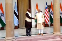 Prime Minister, Narendra Modi meeting the Vice President of the Republic of Botswana, Mokgweetsi Masisi,