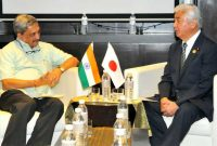 Minister for Defence, Manohar Parrikar and his Japanese counter-part General Nakatani in a bilateral meeting,
