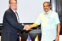 Minister for Defence, Manohar Parrikar meeting the US Secretary of Defence Ashton Carter, on the sidelines of the 3rd ASEAN Defence