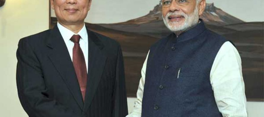 Vice President of the People's Republic of China, Li Yuanchao meeting the Prime Minister, Narendra Modi,
