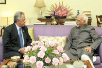 Ambassador of Brunei to India, Dato Paduka Sidek Ali calling on the Vice President, Mohd. Hamid Ansari, in New Delhi