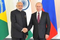 Prime Minister, Narendra Modi with the President of Russian Federation, Vladimir Putin, at the BRICS meeting,