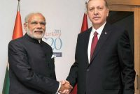 Prime Minister, Narendra Modi with the President of Turkey, Recep Tayyip Erdogan in a bilateral meeting,