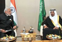 King Salman bin Abdul Aziz of Saudi Arabia meeting the Prime Minister, Narendra Modi, in Turkey on November 16, 2015.