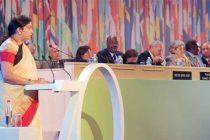 Minister for Human Resource Development, Smriti Irani addressing at the UNESCO's Leaders' Forum