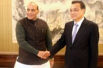 Home Minister, Rajnath Singh calling on the Chinese Premier, Li Keqiang, in Beijing, China on November 19, 2015.