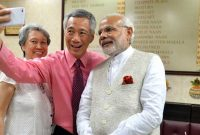 Prime Minister, Narendra Modi and the Prime Minister of Singapore, Lee Hsien Loong