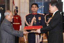 Ambassador-designate of the Republic of Korea, Cho Hyun presenting his Credential to the President, Pranab Mukherjee, at Rashtrapati Bhavan