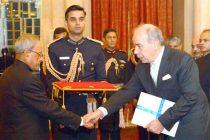 Ambassador-designate of Greece, Pano Kalogeropoulos presenting his credential to the President, Pranab Mukherjee