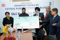 CWC Presents Dividend Cheque to  Government of India