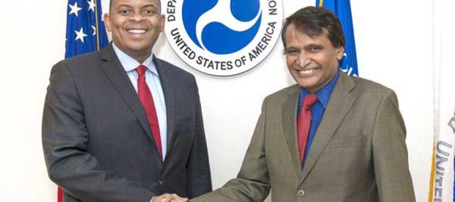 Union Minister for Railways, Suresh Prabhakar Prabhu meeting the US Secretary of Transportation, Anthony Foxx,
