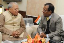 Minister of Business, Enterprise and Cooperatives of the Republic of Mauritius, Soomilduth Sunil Bholah meeting the Minister for Micro, Small and Medium Enterprises, Kalraj Mishra