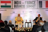 The Prime Minister, Narendra Modi and the President of France, Francois Hollande, at the India-France Business Summit