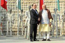 Prime Minister, Narendra Modi with the President of France, Francois Hollande, at Nek Chand Rock Garden