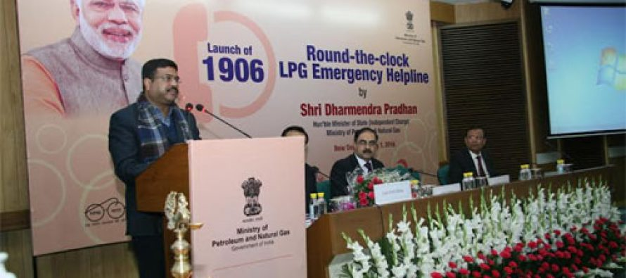 Petroleum Minister launches '1906': 24×7 LPG Emergency Helpline  Declares 2016 as the 'Year of the LPG consumer'